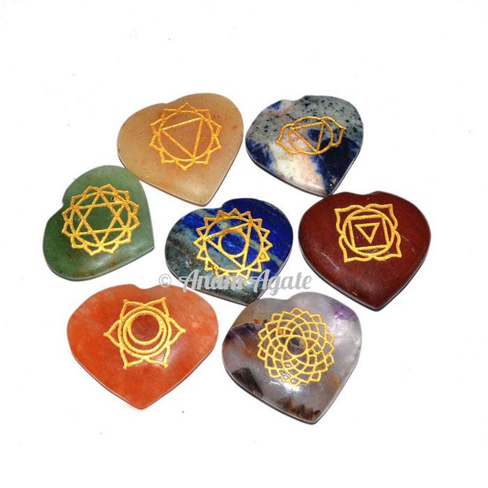 Engraved Chakra Heart Set