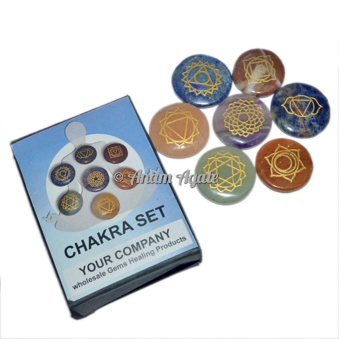 Engraved Chakra Disc set with Printed Box