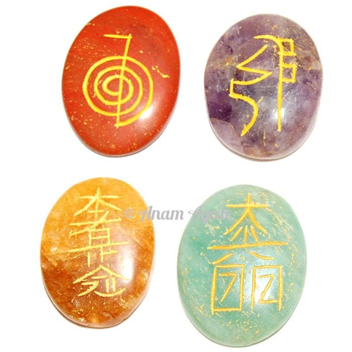 Hand Carved Healing Reiki Set