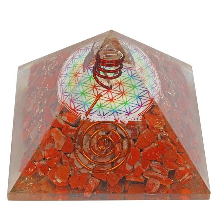 Red Jasper Flower Of Life Orgonite Pyramid