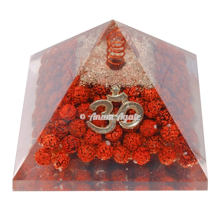 Rudraksha With Om Symbol Orgonite Pyramid