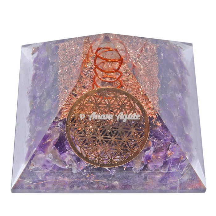 Amethyst With Flower Of Life Orgonite Pyramid