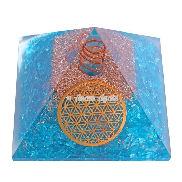 Aquamarine With Natural Point Orgonite Pyramid