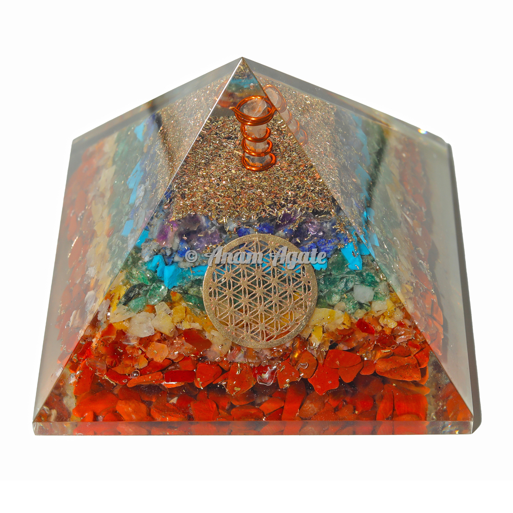 Flower Of Life 7 Chakra Orgonite Pyramid