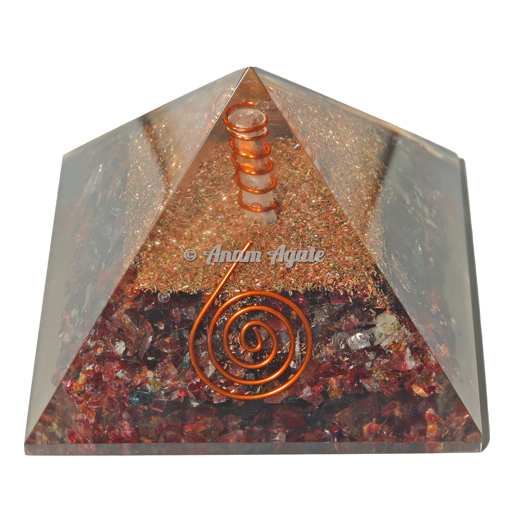 Garnet Orgonite Pyramid EMF Protection