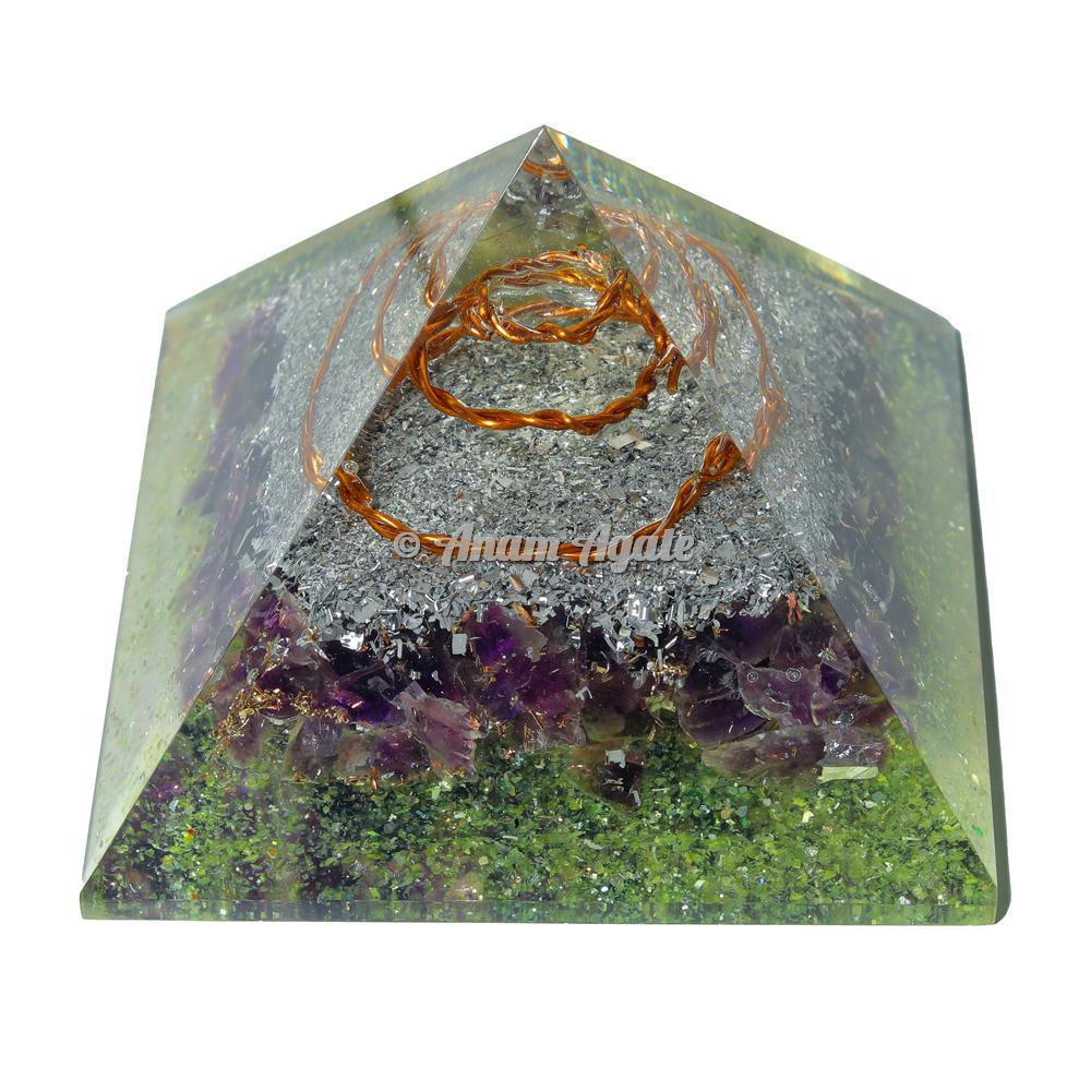 Amethyst and Peridot Orgonite Pyramid