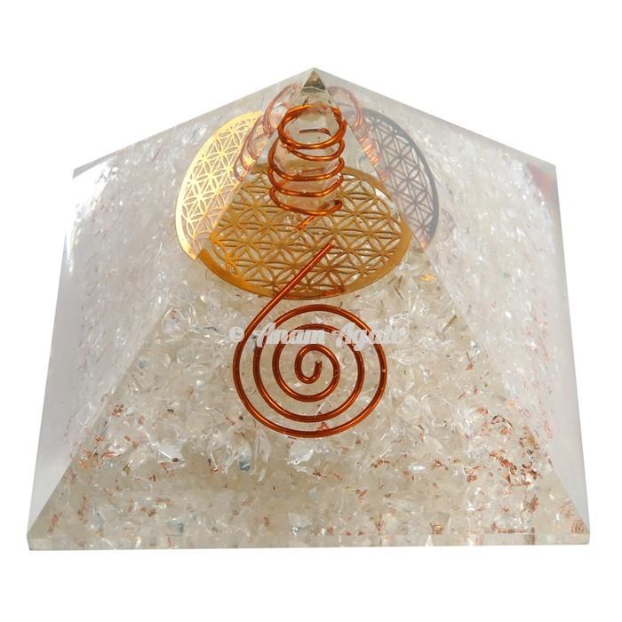 Crystal Quartz With Flower Of Life Symbol  Orgonite Pyramid