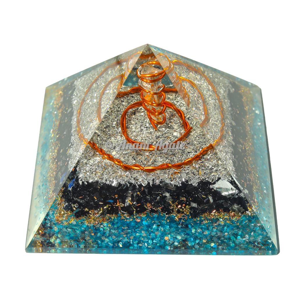 Black Tourmaline and Apatite Orgonite Pyramid