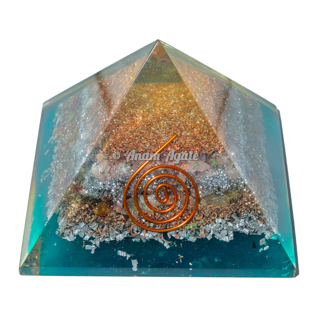 Rose, Pyrite, Yellow Aventurine Orgonite Pyramid