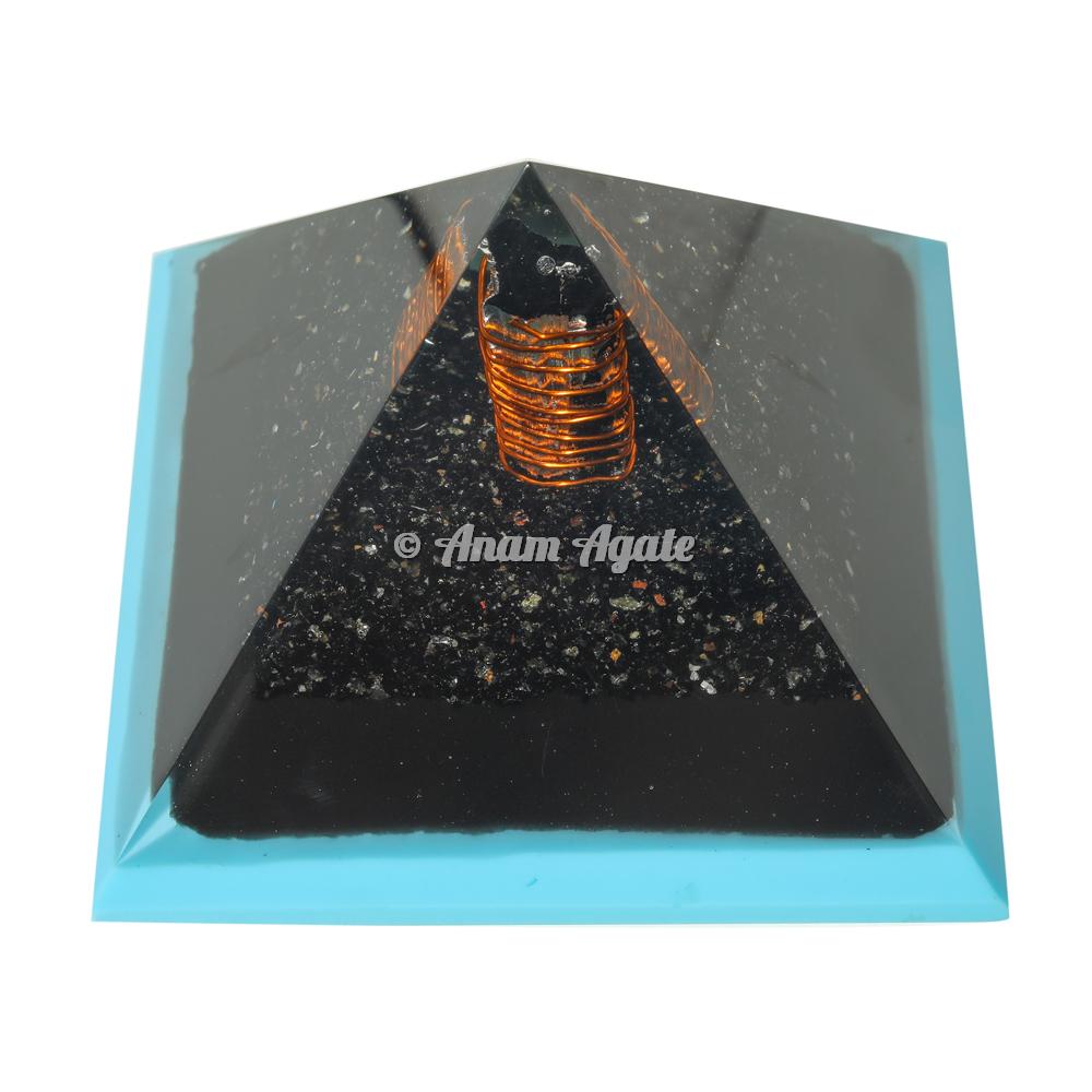 Blue Flame Tourmaline Orgonite Pyramid