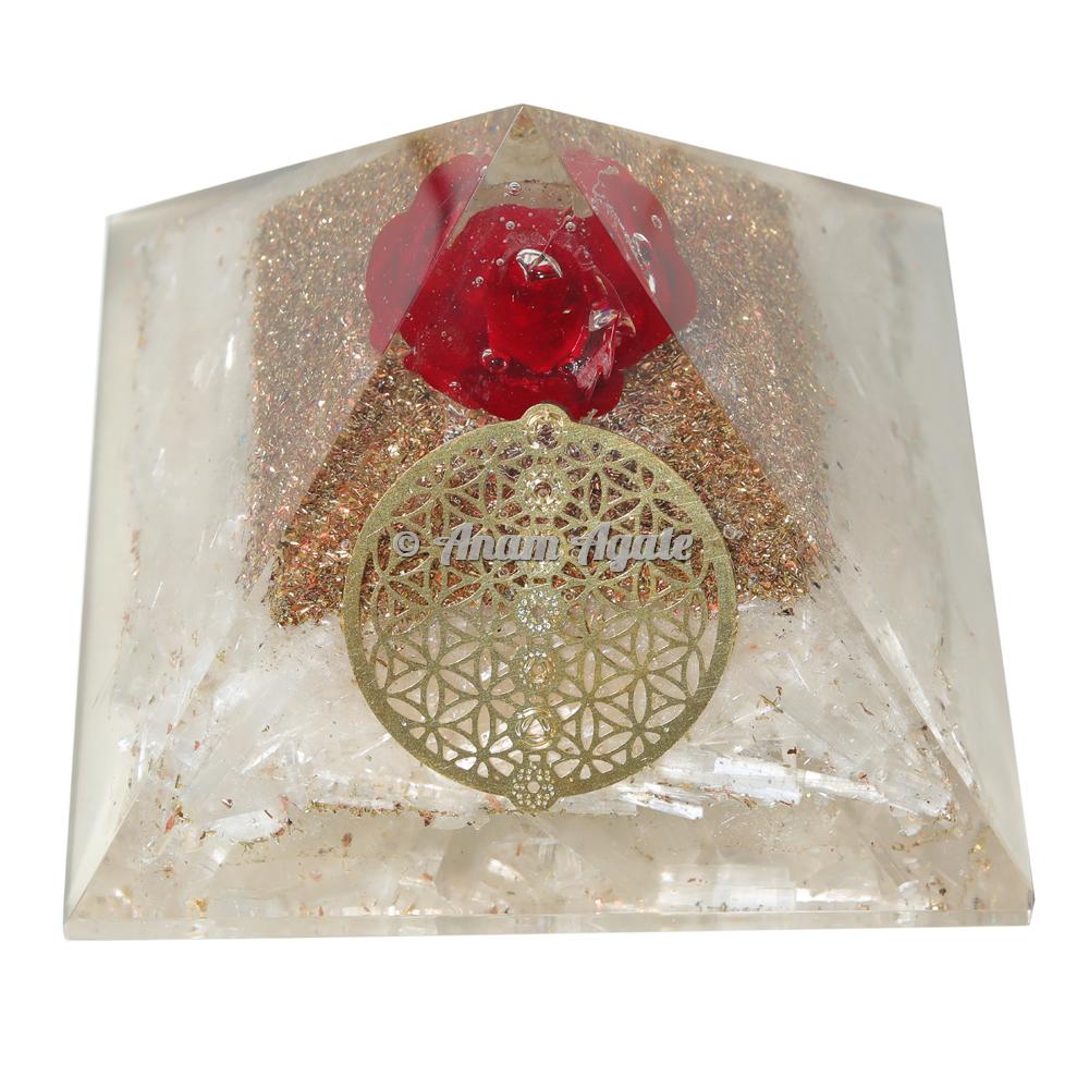 Flower Of Life Selenite Orgonite Pyramid