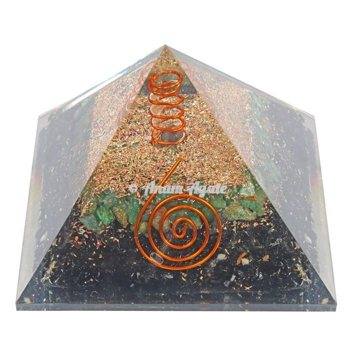 Black Tourmaline With Green Jade Orgonite Pyramid