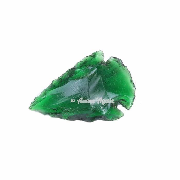 Green Glass Arrowhead 1-1.5 Inches