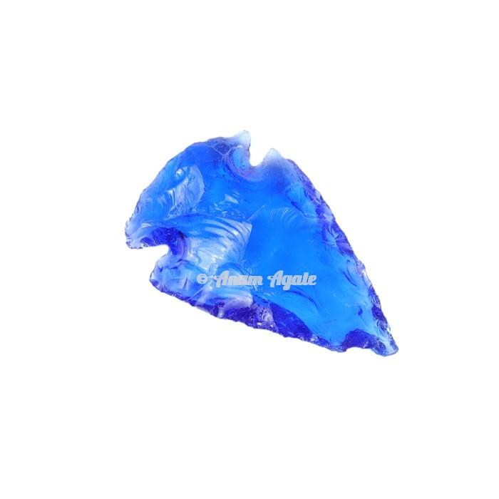 Blue Clear Glass Arrowhead 1-1.5 Inches