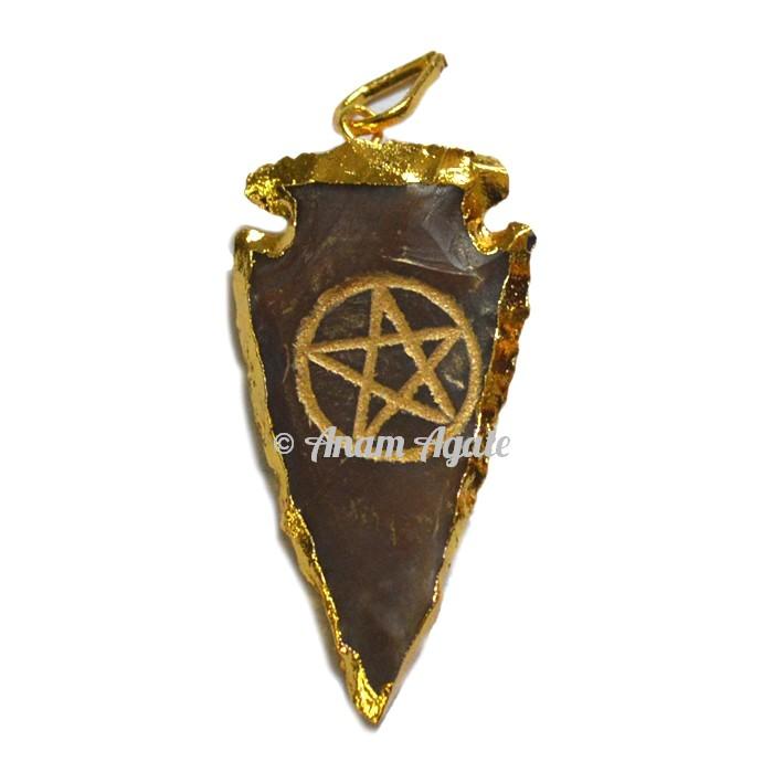 Star Engraved Arrowheads Pendants