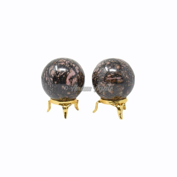 Rhodonite Ball Sphere with Stand