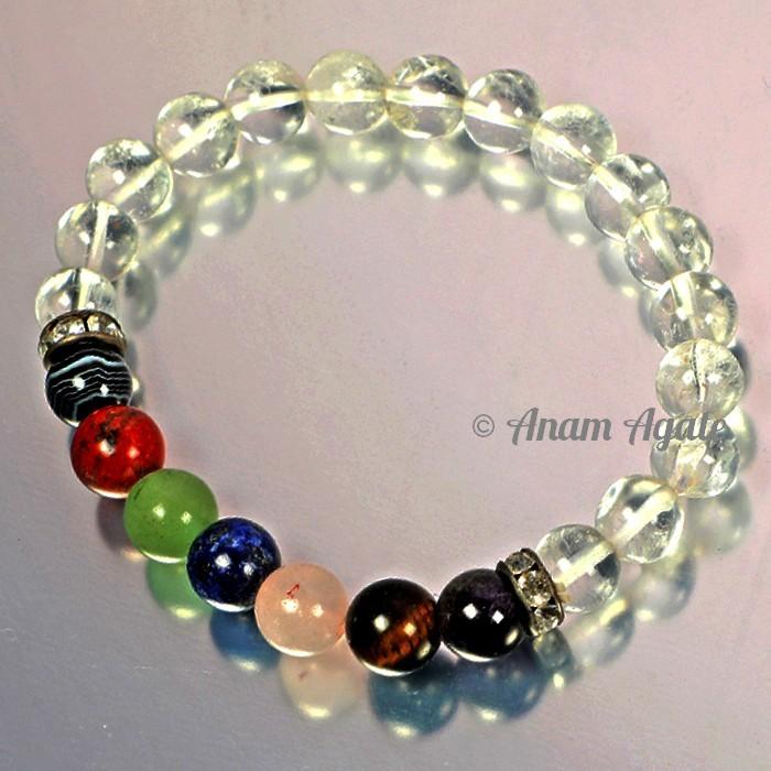 Crystal Quartz with Chakra Beads Bracelets