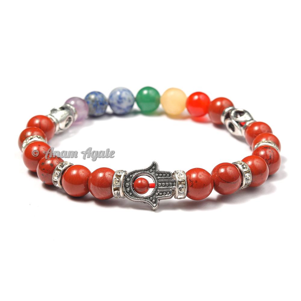Red Jasper | Hamsa Evil Eye Chakra Bracelets