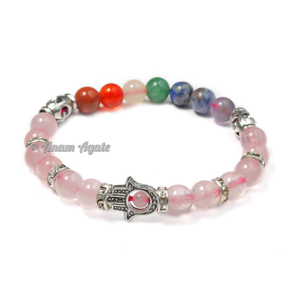 Rose Quartz | Hamsa Evil Eye chakra Bracelets