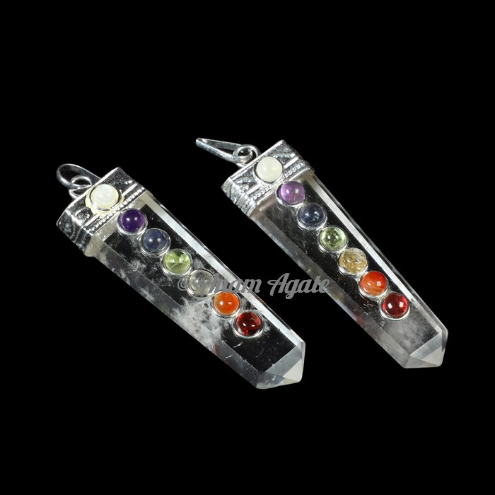 Crystal Quartz Flat Pencil Chakra Pendants