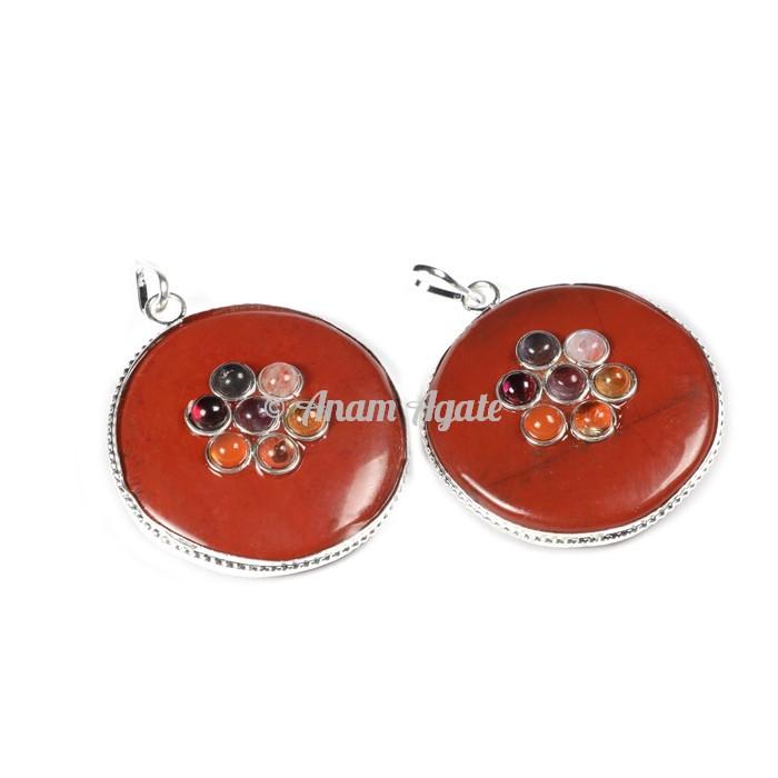 Red jasper Chakra Disc Pendants