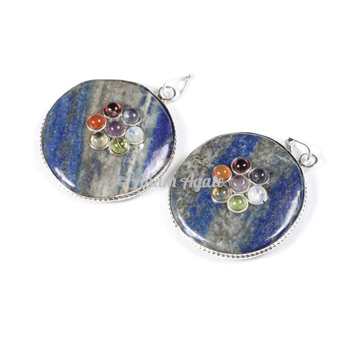 Lapis Lazuli Chakra Disc Pendants