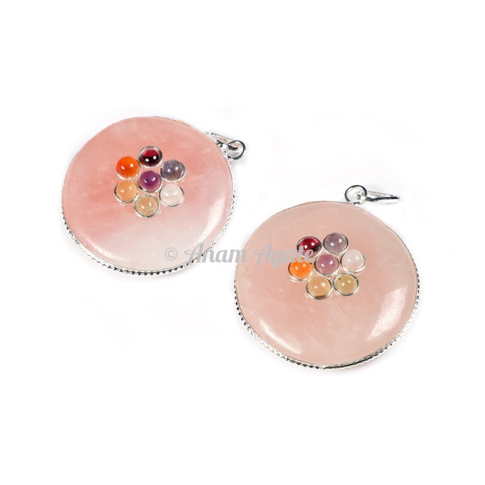 Rose Quartz Chakra Disc Pendants