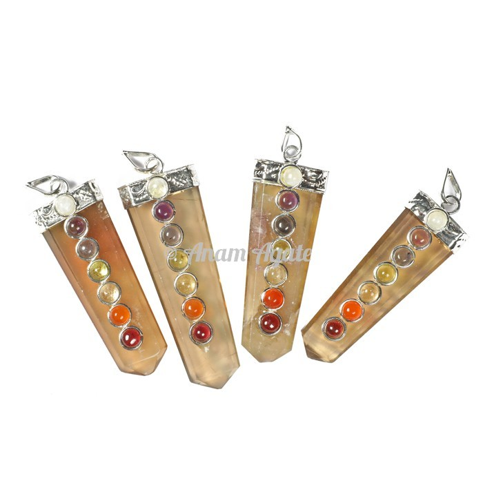 Flourite Chakra Flat Pencil Pendants