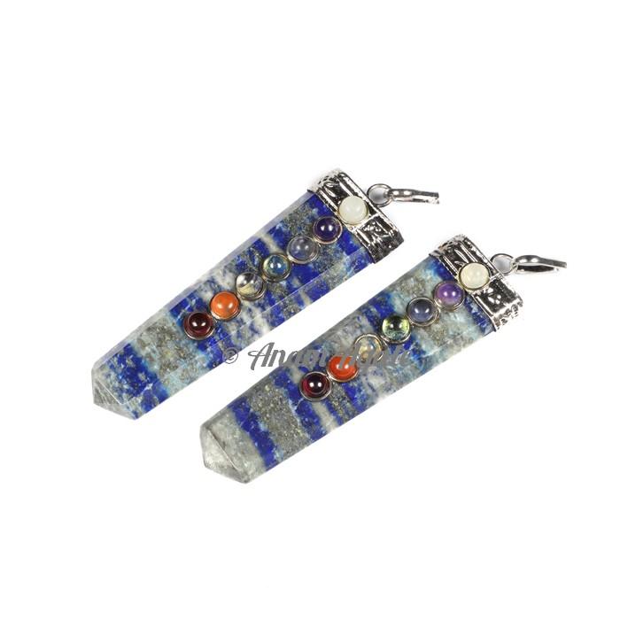 Lapis Lazuli Flat Pencil Chakra Pendants