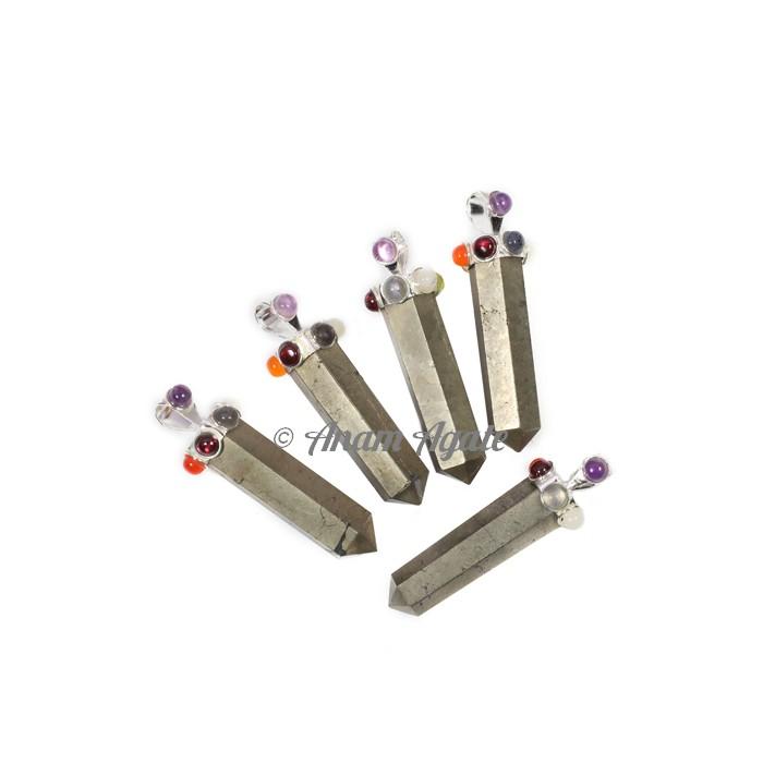 Pyrite Chakra Pencil Pendants
