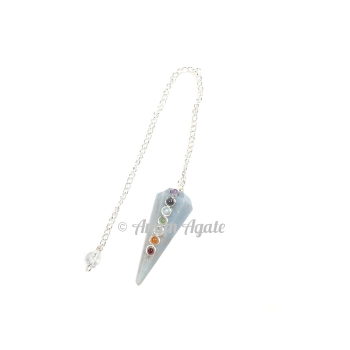 Angelite Chakra 6faceted Pendulums