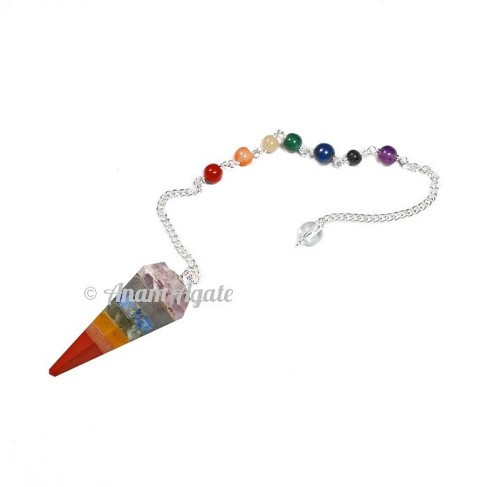 7 chakra bonded Pendulums with Lapis Chakra chain