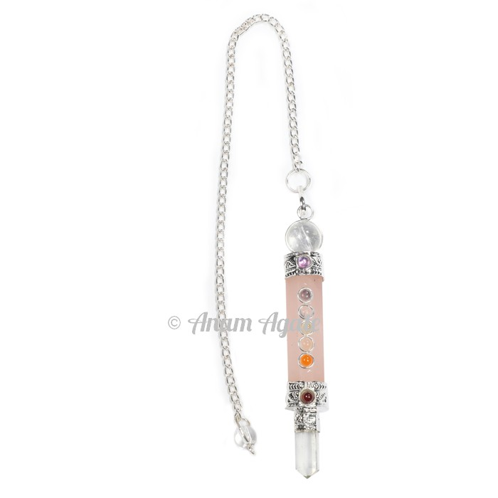 Rose Quartz Chakra 3pcs Pendulums
