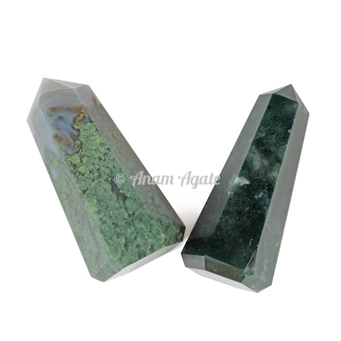 Moss Agate Obelisk Points