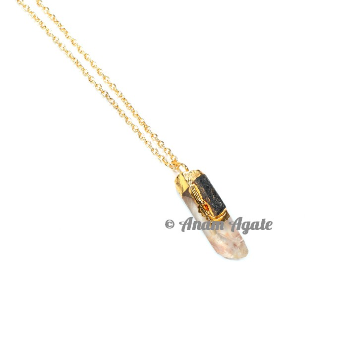 Crystal with Tourmaline Natural Gold Electro Pendants