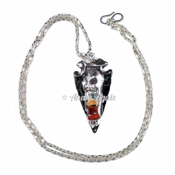 Black Obsidian Chakra Arrow Electro Pendants