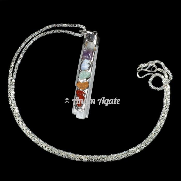 Selenite Chakra Electro Pendants