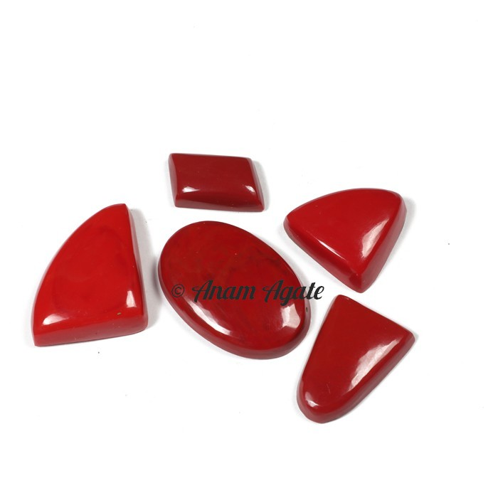 Coral Synthetic Gemstone Cabochons
