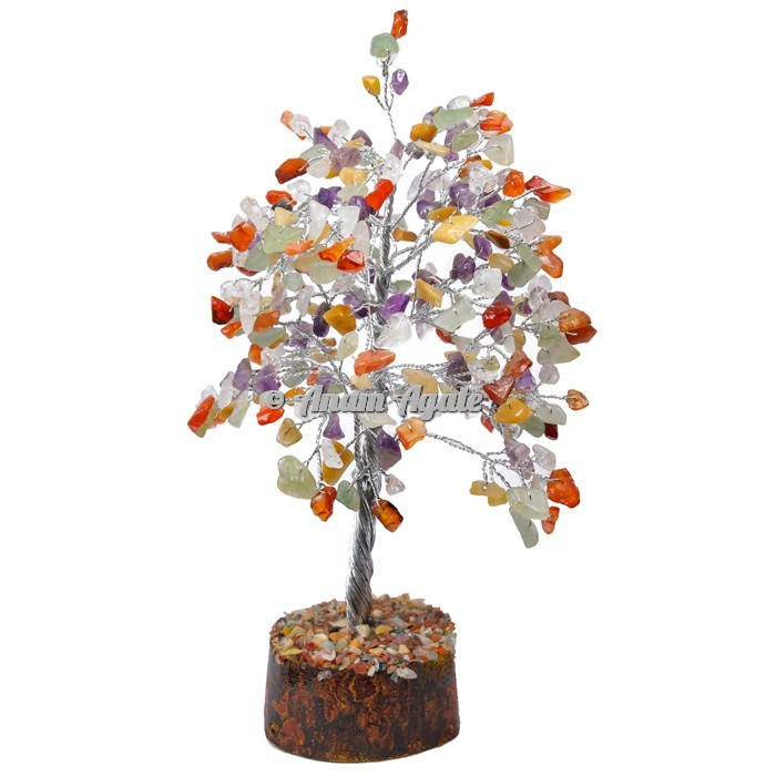 Multi Stone 300 Chips Silver Wire Tree