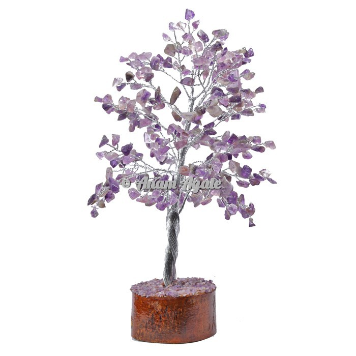 Amethyst 300 Chips Silver Wire Tree