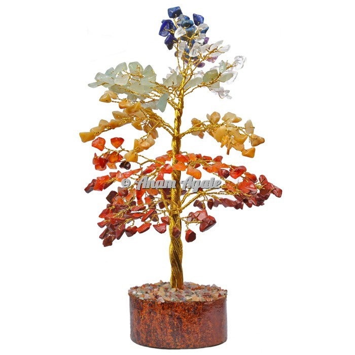7 Chakra 300 Chips Golden Wire Tree