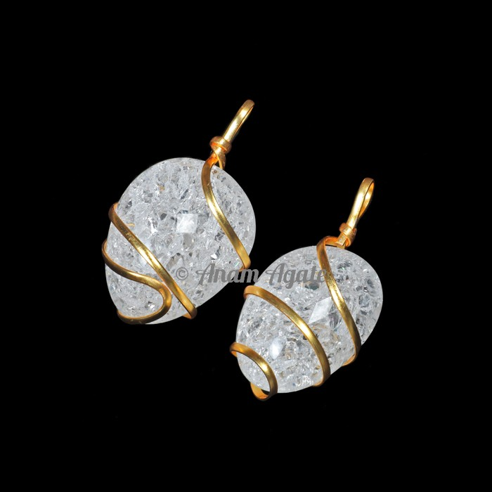 Crackle Crystal Tumbled Pendant