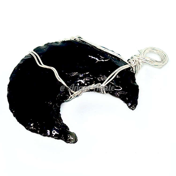 Black Obsidian Moon Wire Wrapped Healing Pendant B