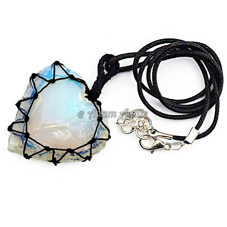 Opalite Glass Heart Macrame Wrapped Pendants B
