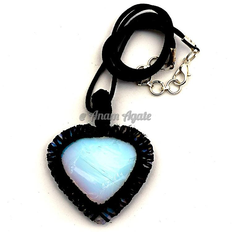 Glass Heart Macrame Wrapped Pendants C