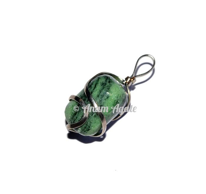 Green Zoisite Tumbled Pendants