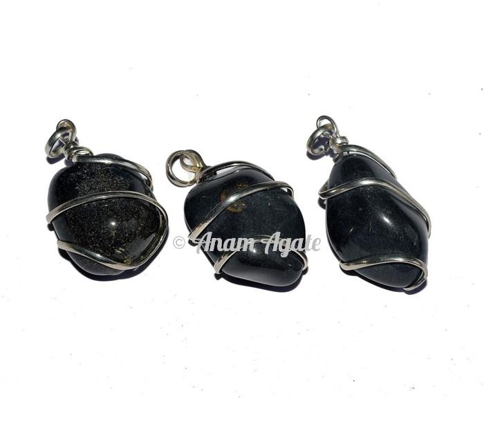 Black Agate Tumbled Pendants