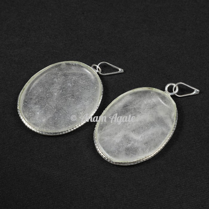 Crystal Quartz Oval Healing Pendants
