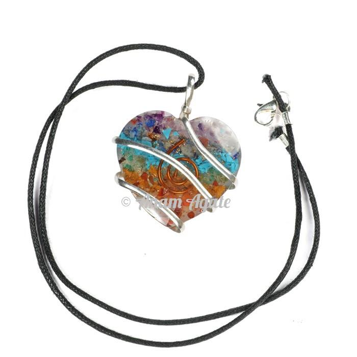 Orgonite Chakra Heart Wrap Pendants