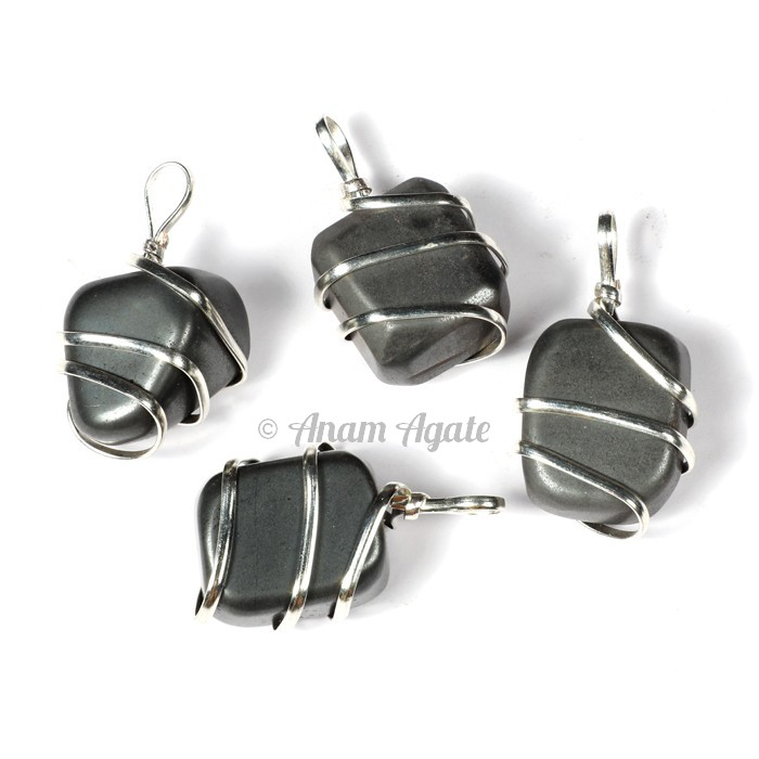 Hematite Tumbled Wrap Pendants
